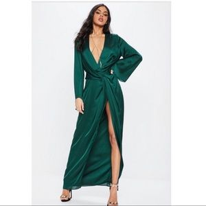 Missguided Green Satin Plunge Maxi Dress